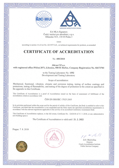 Certification ISO/IEC 17025:2005 for Testing Laboratory at Altran CZ