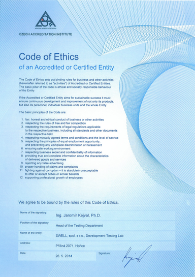 Code of Ethics for Testing Laboratory at Altran CZ
